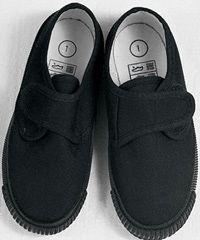 PLM-02-ROB - Velcro strap plimsolls - Black