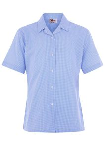 BLS-30-PCT - Twin pack short sleeved blouse - Blue/white gingham