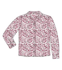 BLS-22-COT - Long sleeve blouse - Maroon/white